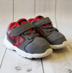 Nike Gray & Red Velcro Downshifter 6 Athletic Shoe